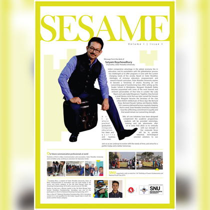 Sister Nivedita University is proud to announce it's first magazine titled, Sesame launched by Mr. Jay Treloar, Deputy Director - Amarican Centre